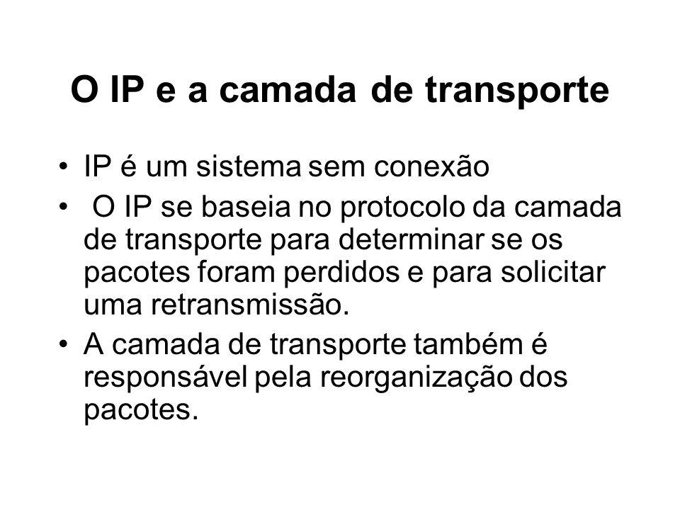 O IP e a camada de transporte