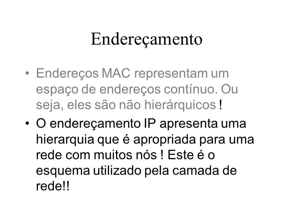 Endereçamento Endereços MAC representam um espaço de endereços contínuo. Ou seja, eles são não hierárquicos !