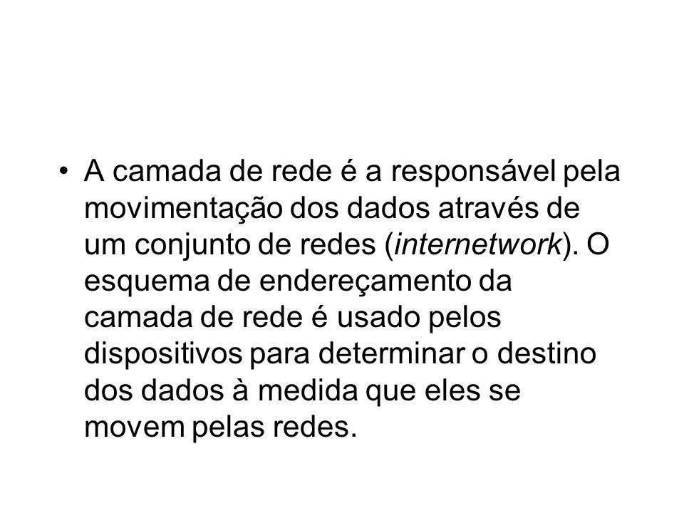 A camada de rede é a responsável pela movimentação dos dados através de um conjunto de redes (internetwork).