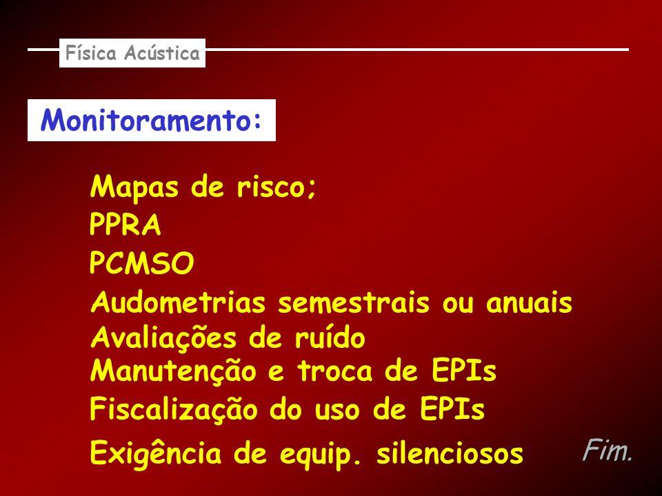 Audometrias semestrais ou anuais Avaliações de ruído