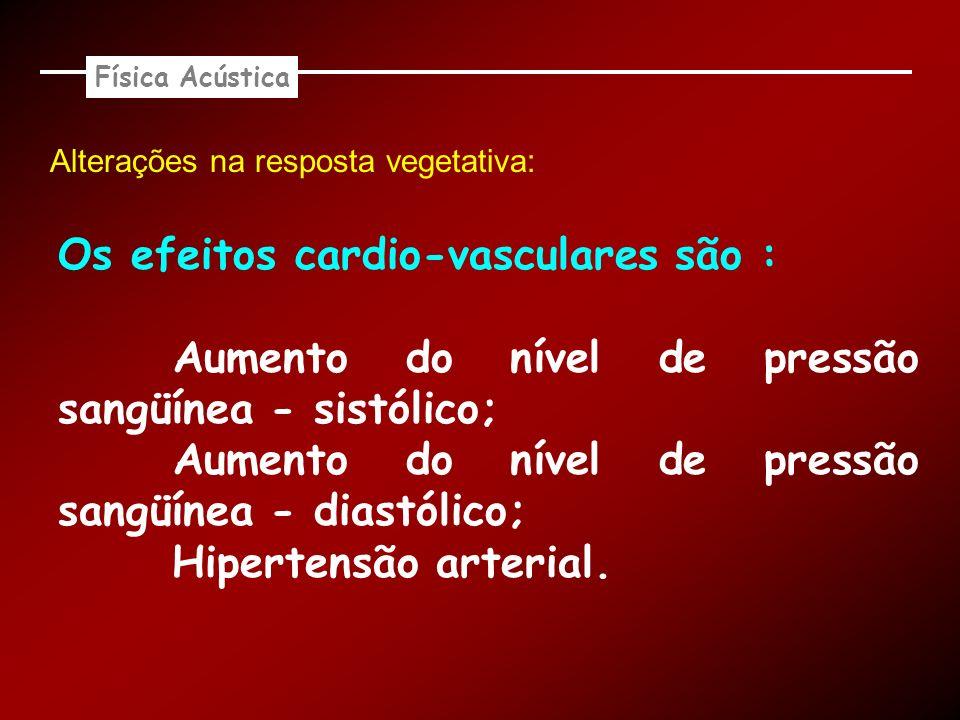 Os efeitos cardio-vasculares são :