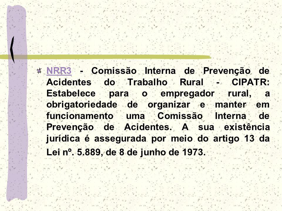 NRR3 - Comissão Interna de Prevenção de Acidentes do Trabalho Rural - CIPATR: Estabelece para o empregador rural, a obrigatoriedade de organizar e manter em funcionamento uma Comissão Interna de Prevenção de Acidentes.
