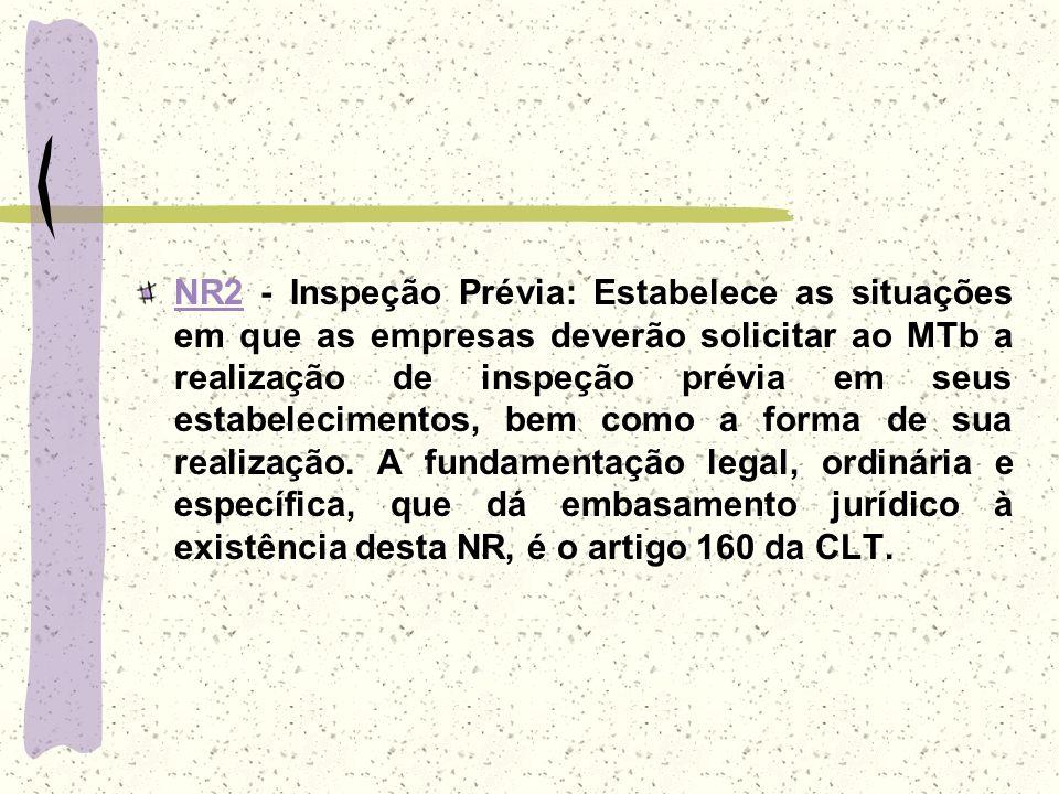 NR2 - Inspeção Prévia: Estabelece as situações em que as empresas deverão solicitar ao MTb a realização de inspeção prévia em seus estabelecimentos, bem como a forma de sua realização.