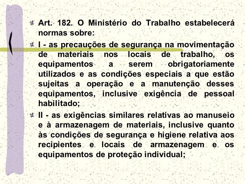 Art. 182. O Ministério do Trabalho estabelecerá normas sobre: