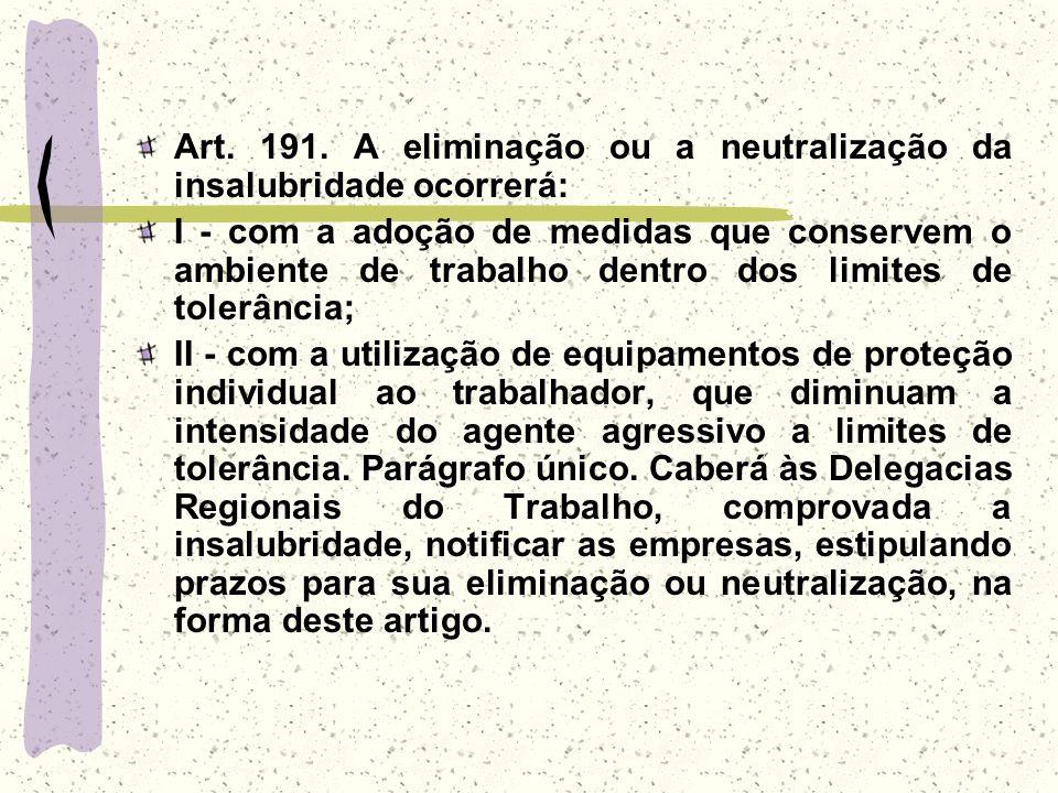 Art. 191. A eliminação ou a neutralização da insalubridade ocorrerá:
