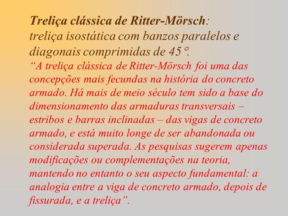 Treliça clássica de Ritter-Mörsch: treliça isostática com banzos paralelos e diagonais comprimidas de 45.
