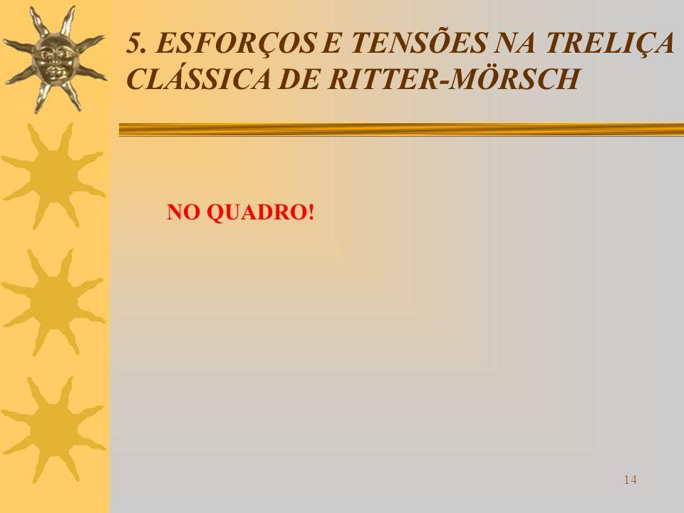 5. ESFORÇOS E TENSÕES NA TRELIÇA CLÁSSICA DE RITTER-MÖRSCH
