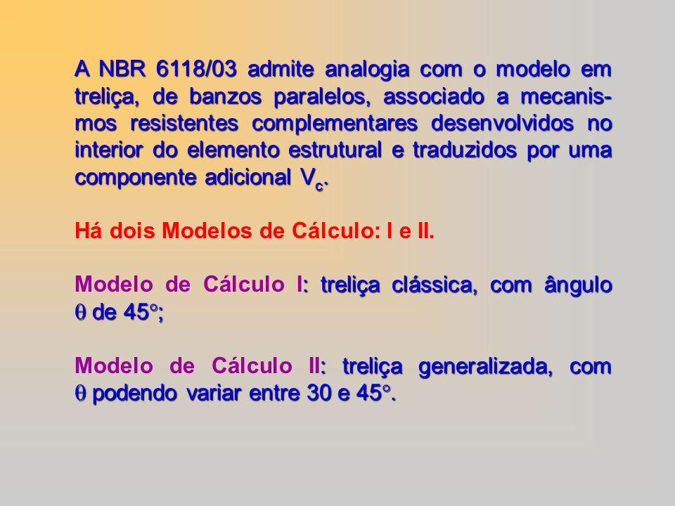 A NBR 6118/03 admite analogia com o modelo em treliça, de banzos paralelos, associado a mecanis-mos resistentes complementares desenvolvidos no interior do elemento estrutural e traduzidos por uma componente adicional Vc.