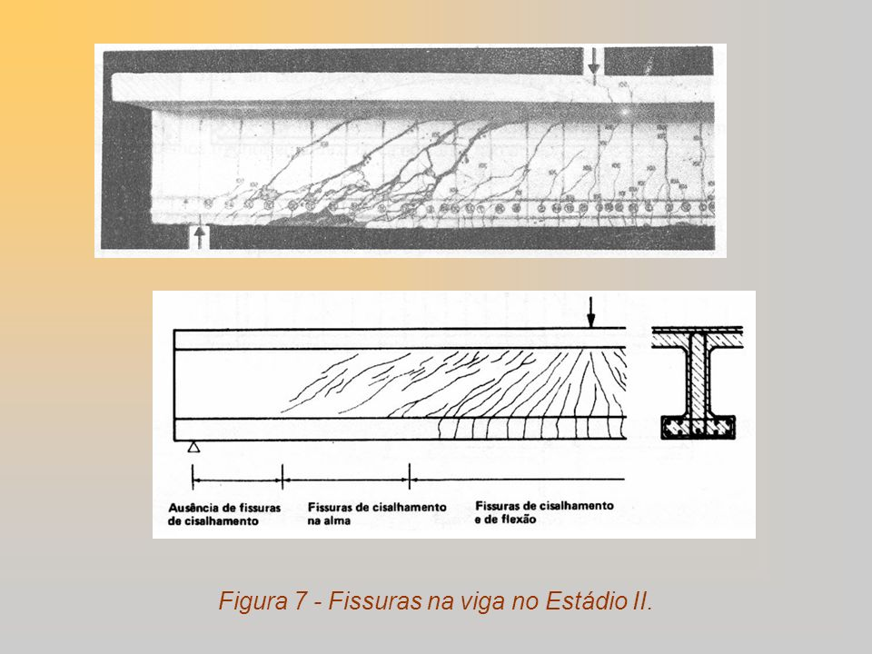 Figura 7 - Fissuras na viga no Estádio II.