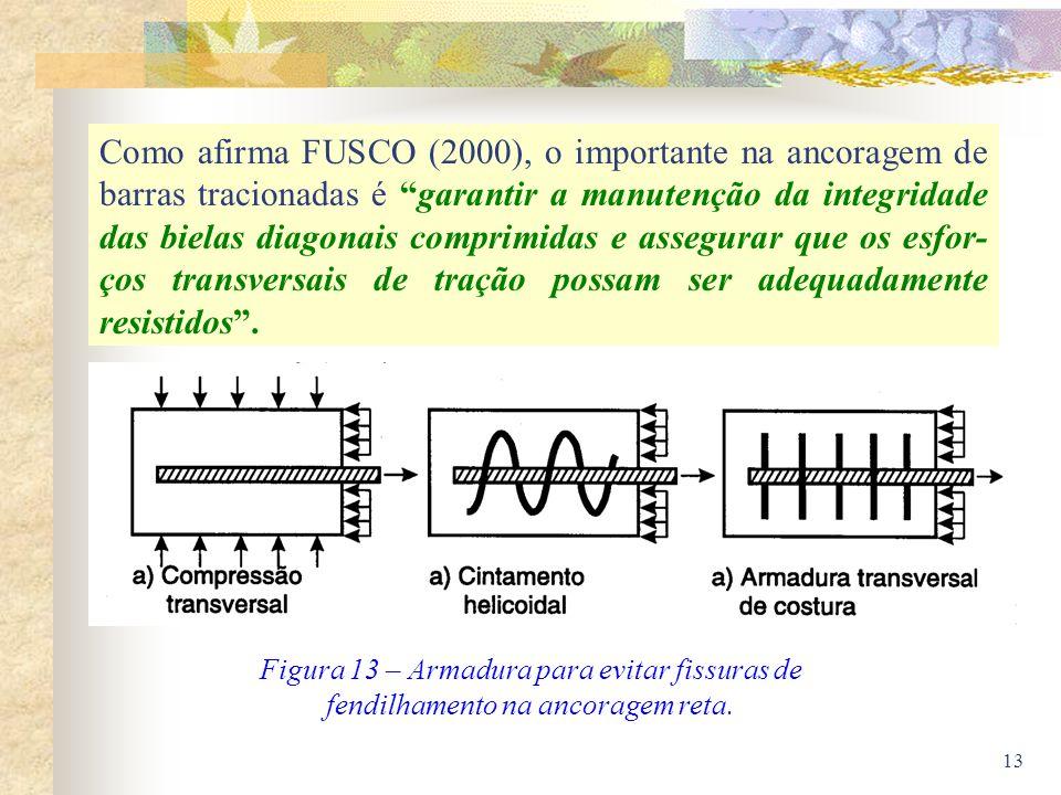 Como afirma FUSCO (2000), o importante na ancoragem de barras tracionadas é garantir a manutenção da integridade das bielas diagonais comprimidas e assegurar que os esfor-ços transversais de tração possam ser adequadamente resistidos .
