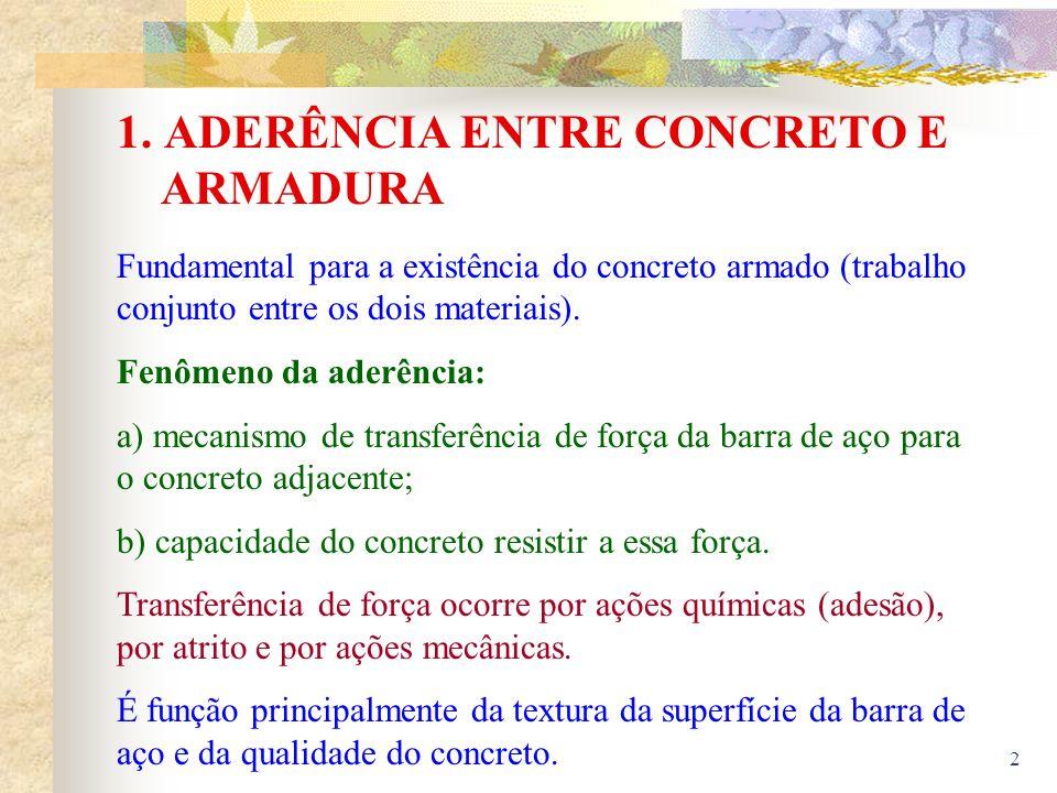 1. ADERÊNCIA ENTRE CONCRETO E ARMADURA