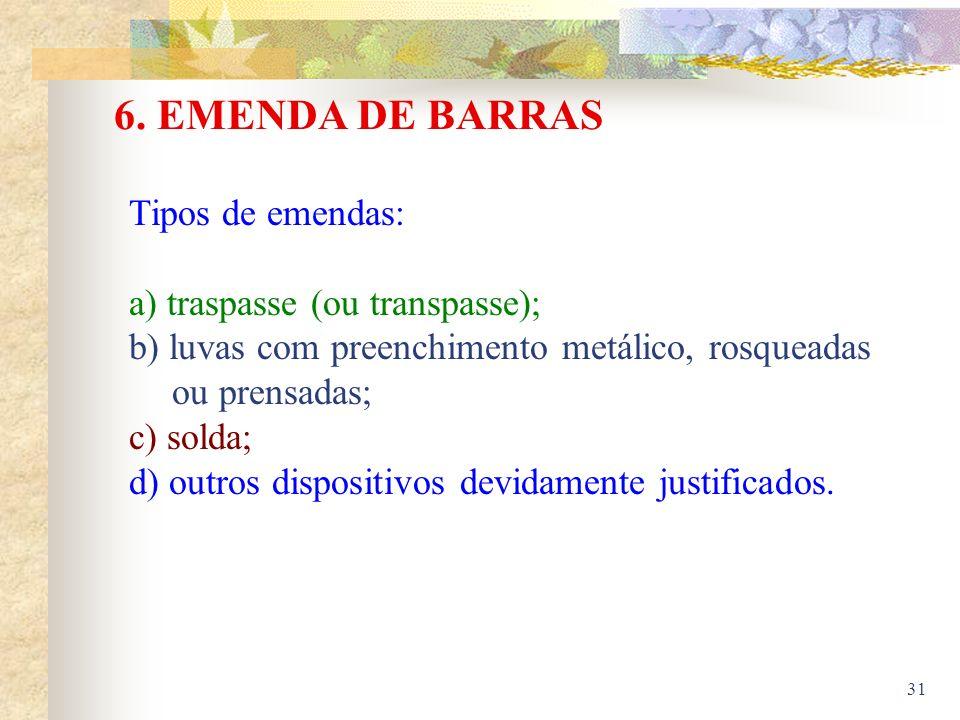 6. EMENDA DE BARRAS Tipos de emendas: a) traspasse (ou transpasse);