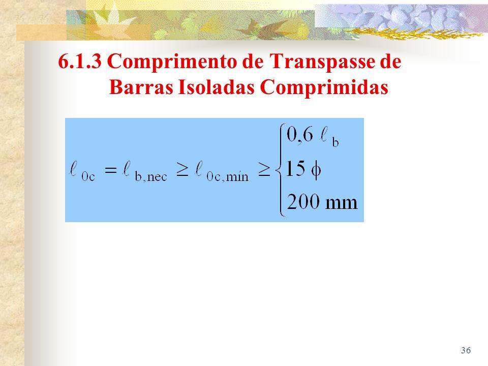 6.1.3 Comprimento de Transpasse de Barras Isoladas Comprimidas