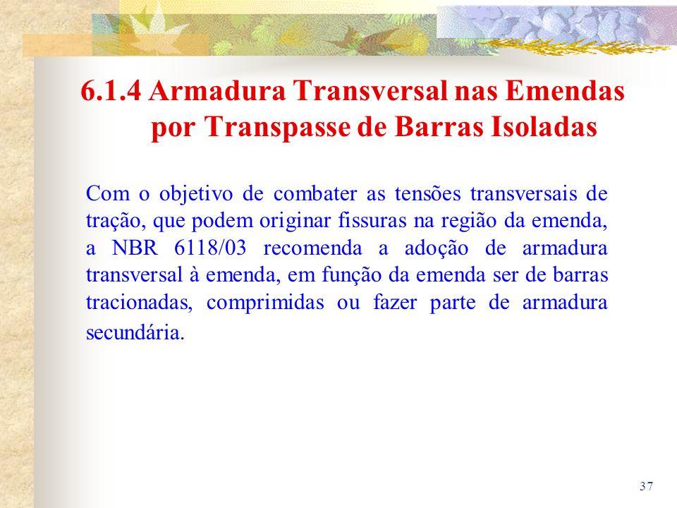 6.1.4 Armadura Transversal nas Emendas por Transpasse de Barras Isoladas