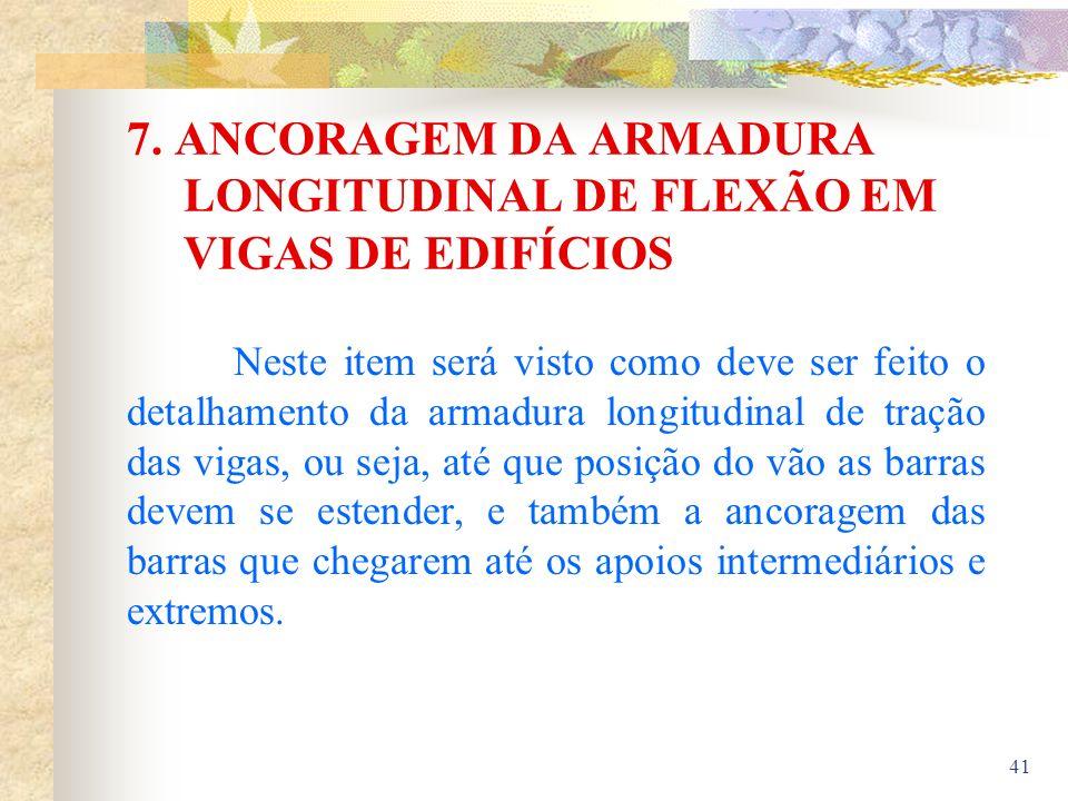 7. ANCORAGEM DA ARMADURA LONGITUDINAL DE FLEXÃO EM VIGAS DE EDIFÍCIOS