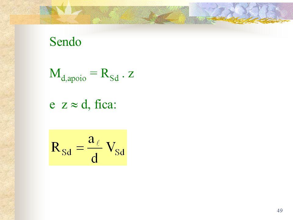 Sendo Md,apoio = RSd . z e z  d, fica: