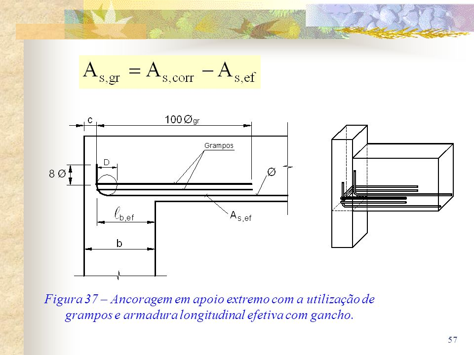 Figura 37 – Ancoragem em apoio extremo com a utilização de grampos e armadura longitudinal efetiva com gancho.