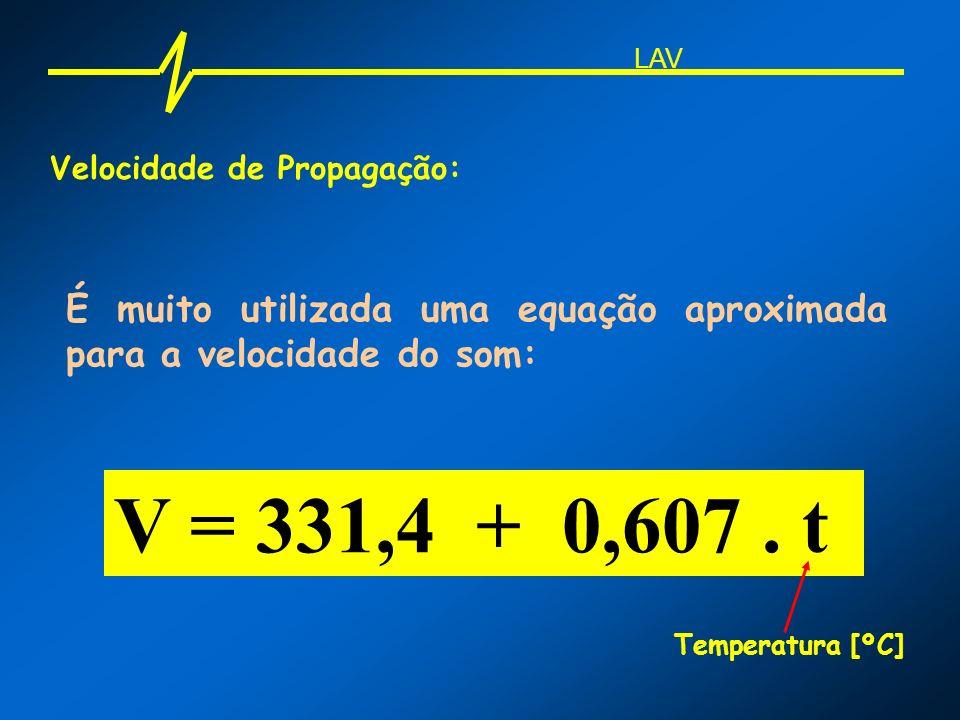 LAV Velocidade de Propagação: É muito utilizada uma equação aproximada para a velocidade do som: V = 331,4 + 0,607 . t.