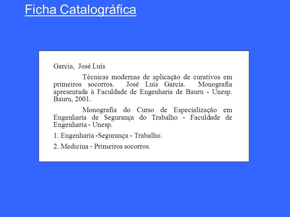 Ficha Catalográfica Garcia, José Luís