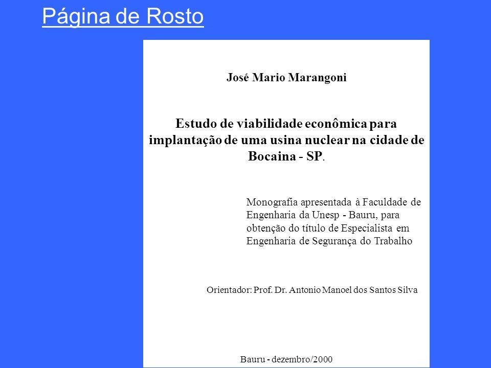 Página de Rosto José Mario Marangoni. Estudo de viabilidade econômica para implantação de uma usina nuclear na cidade de Bocaina - SP.