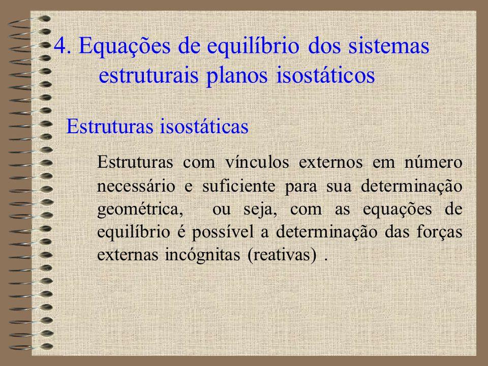 4. Equações de equilíbrio dos sistemas estruturais planos isostáticos