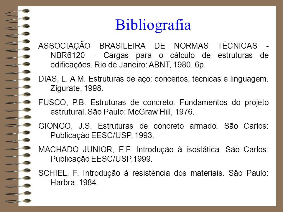 Bibliografia ASSOCIAÇÃO BRASILEIRA DE NORMAS TÉCNICAS - NBR6120 – Cargas para o cálculo de estruturas de edificações. Rio de Janeiro: ABNT, 1980. 6p.