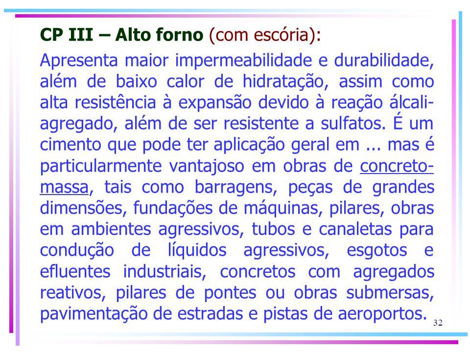 CP III – Alto forno (com escória):