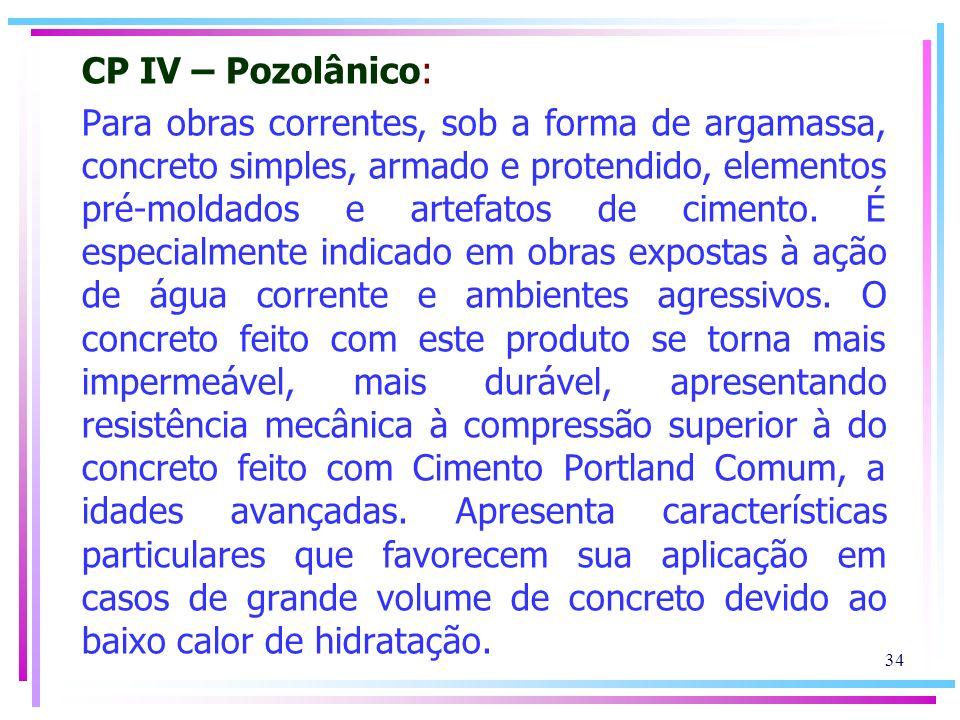 CP IV – Pozolânico: