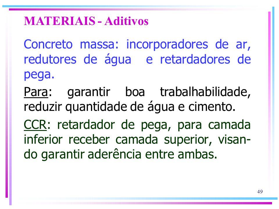 MATERIAIS - Aditivos Concreto massa: incorporadores de ar, redutores de água e retardadores de pega.