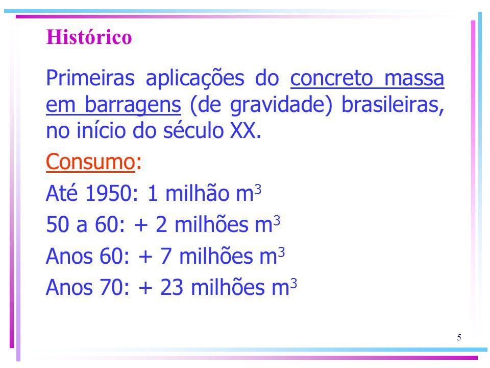 Histórico Primeiras aplicações do concreto massa em barragens (de gravidade) brasileiras, no início do século XX.