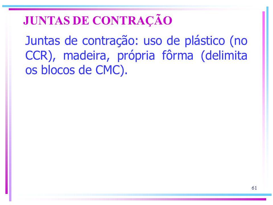 JUNTAS DE CONTRAÇÃO Juntas de contração: uso de plástico (no CCR), madeira, própria fôrma (delimita os blocos de CMC).