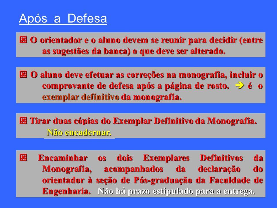 Após a Defesa O orientador e o aluno devem se reunir para decidir (entre as sugestões da banca) o que deve ser alterado.