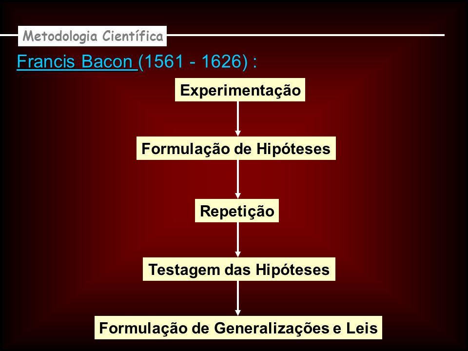 Francis Bacon (1561 - 1626) : Experimentação Formulação de Hipóteses