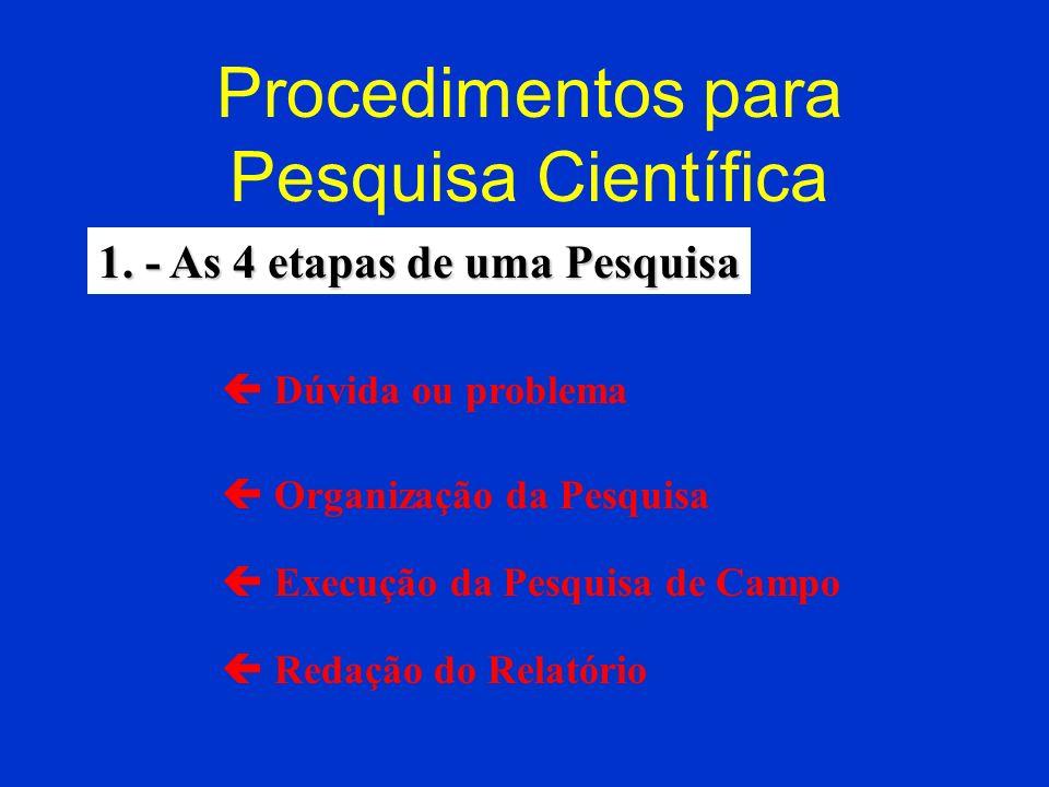Procedimentos para Pesquisa Científica