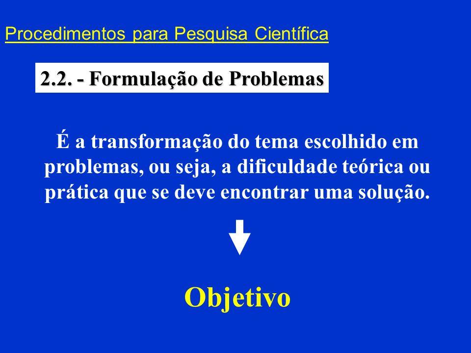 Objetivo 2.2. - Formulação de Problemas