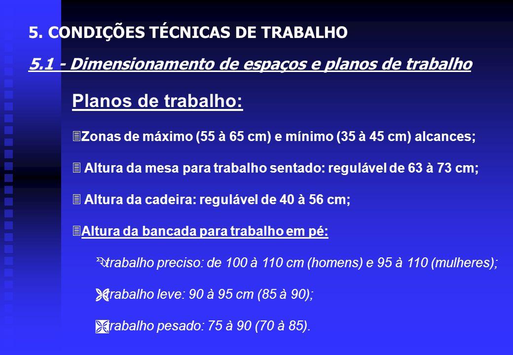 Planos de trabalho: 5. CONDIÇÕES TÉCNICAS DE TRABALHO