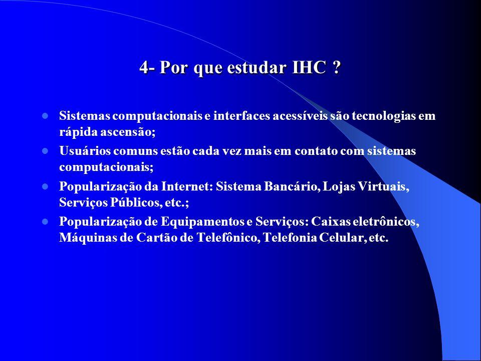 4- Por que estudar IHC Sistemas computacionais e interfaces acessíveis são tecnologias em rápida ascensão;