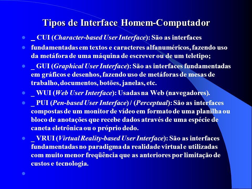 Tipos de Interface Homem-Computador