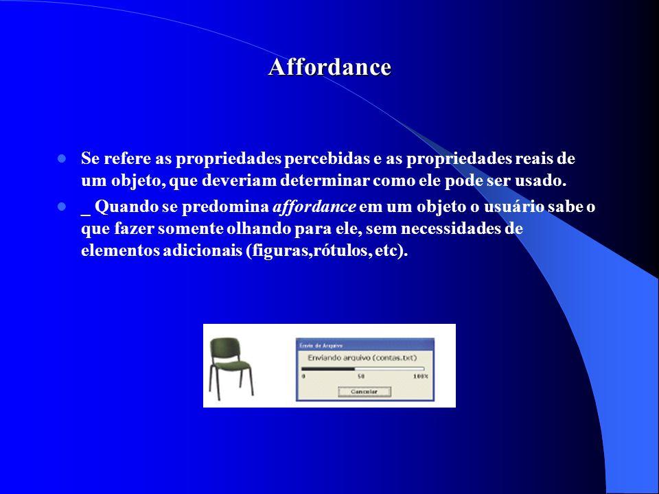 Affordance Se refere as propriedades percebidas e as propriedades reais de um objeto, que deveriam determinar como ele pode ser usado.