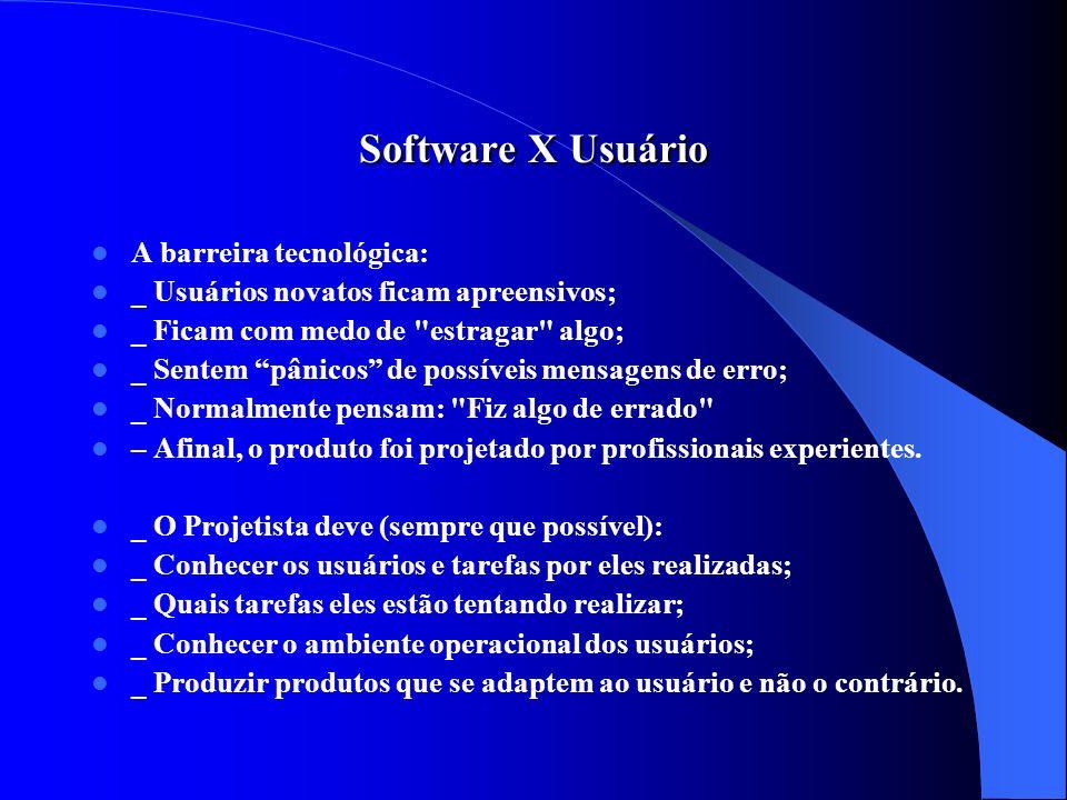 Software X Usuário A barreira tecnológica:
