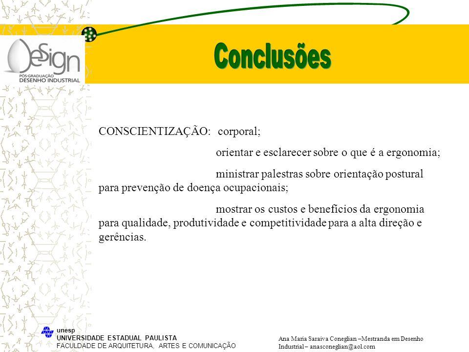 Conclusões CONSCIENTIZAÇÃO: corporal;