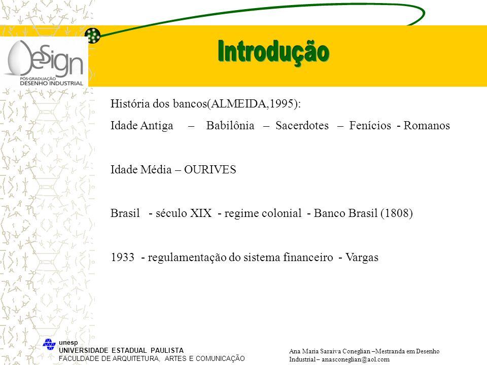 Introdução História dos bancos(ALMEIDA,1995):