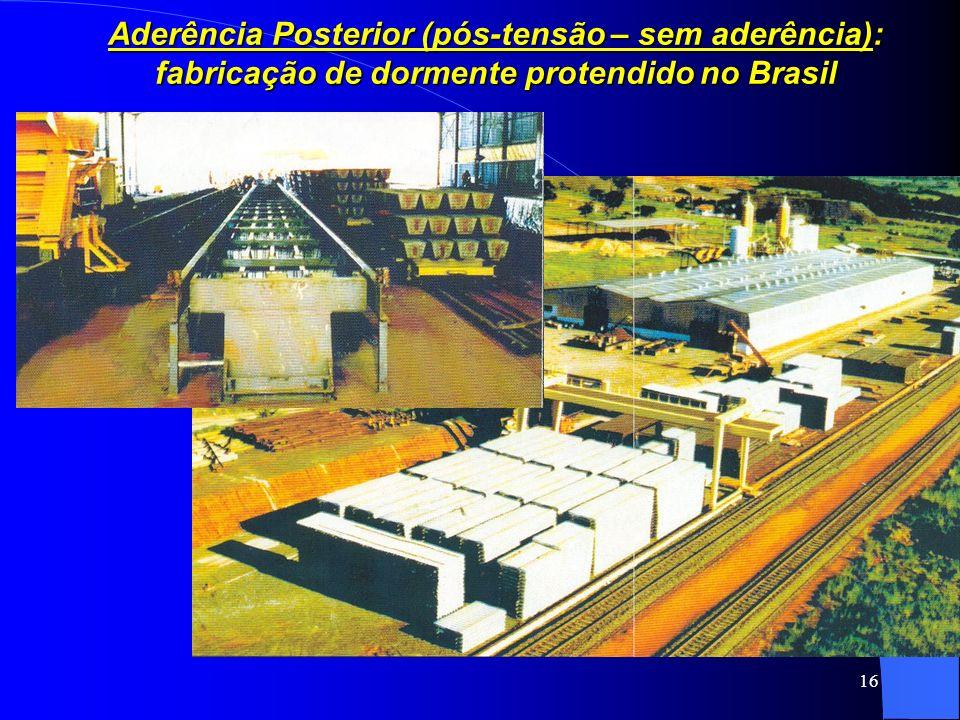 Aderência Posterior (pós-tensão – sem aderência): fabricação de dormente protendido no Brasil