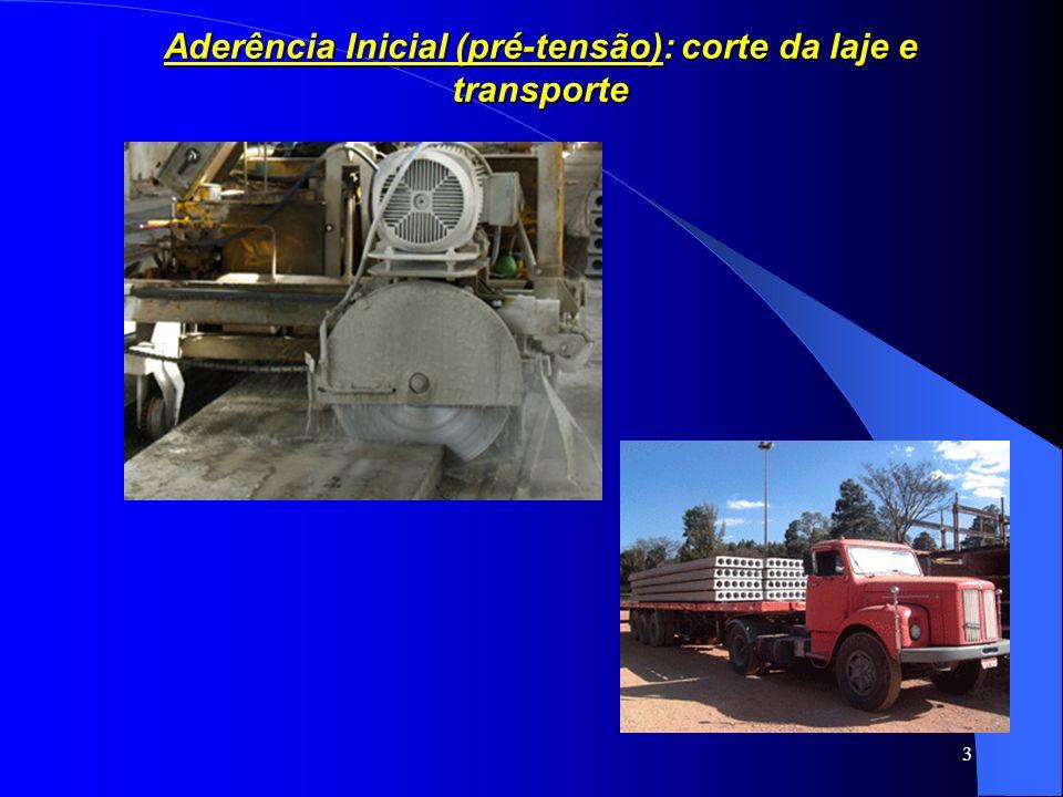 Aderência Inicial (pré-tensão): corte da laje e transporte