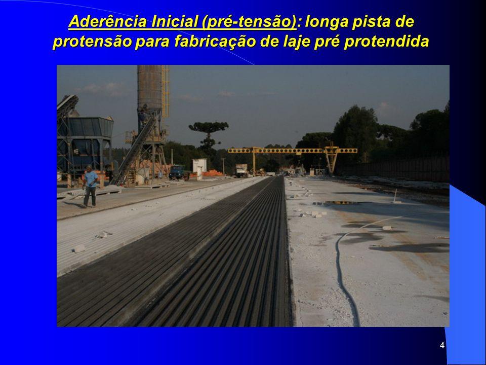 Aderência Inicial (pré-tensão): longa pista de protensão para fabricação de laje pré protendida