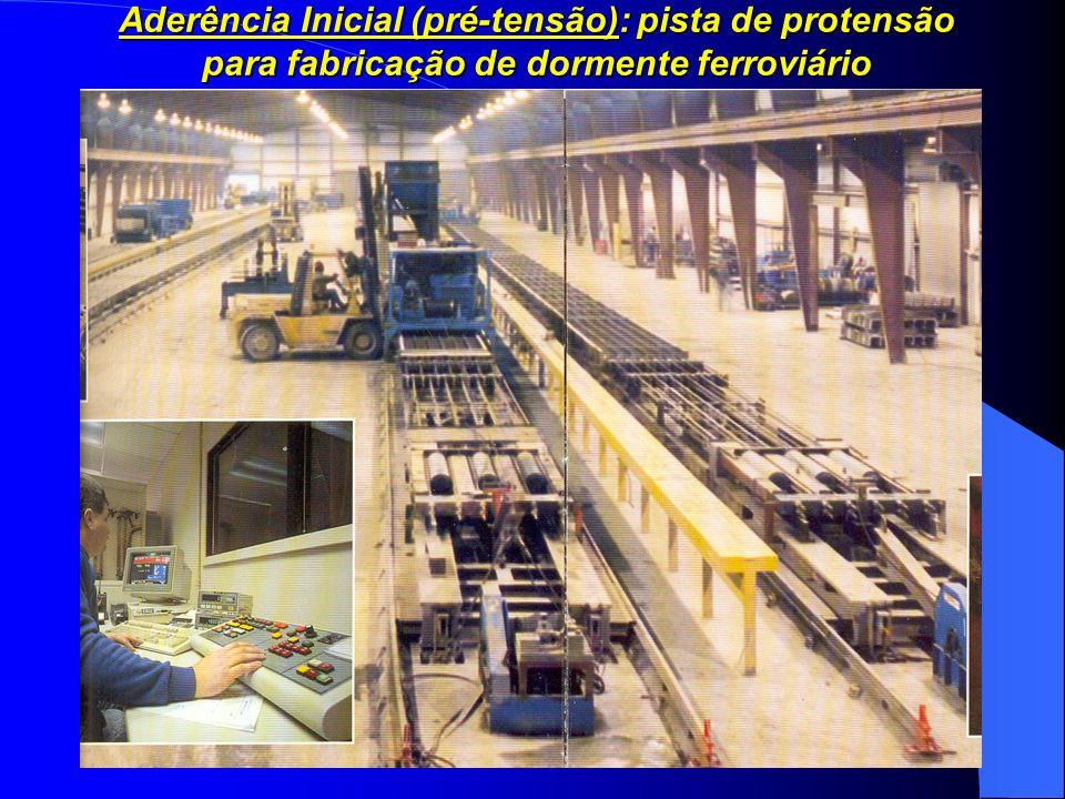 Aderência Inicial (pré-tensão): pista de protensão para fabricação de dormente ferroviário
