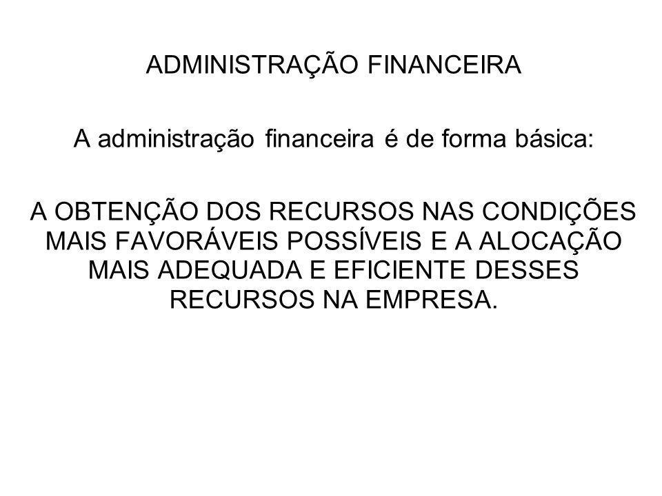 ADMINISTRAÇÃO FINANCEIRA A administração financeira é de forma básica: