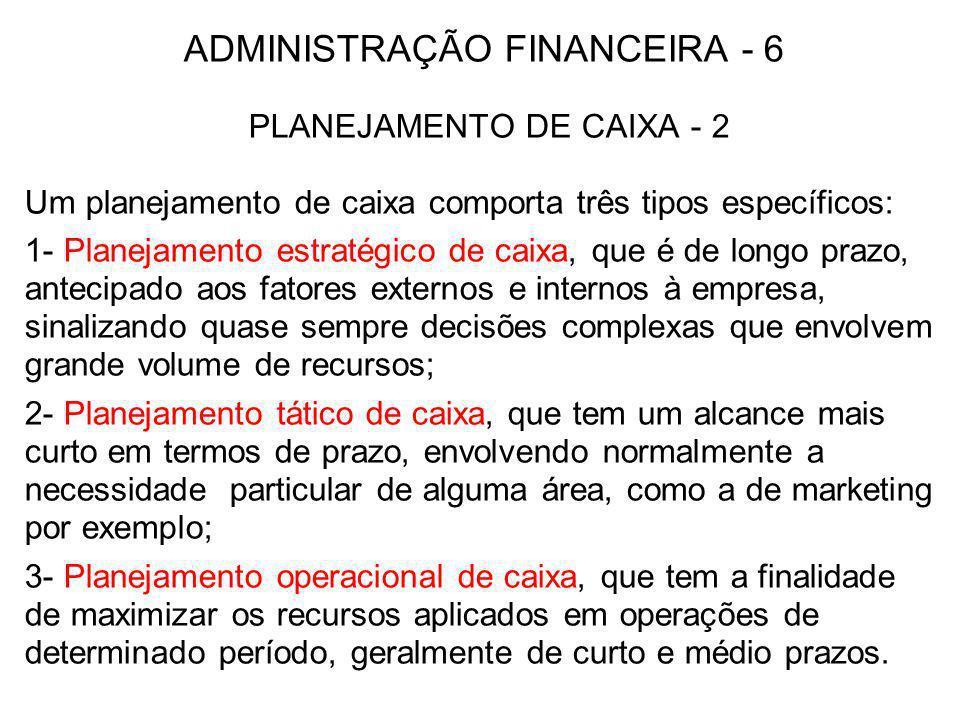 ADMINISTRAÇÃO FINANCEIRA - 6