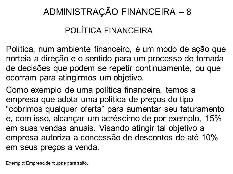 ADMINISTRAÇÃO FINANCEIRA – 8