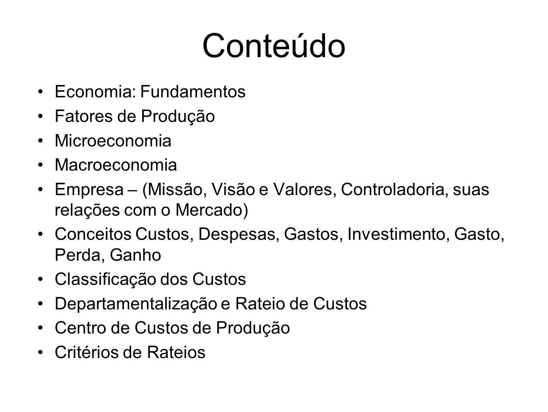 Conteúdo Economia: Fundamentos Fatores de Produção Microeconomia